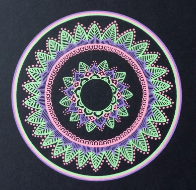 Pink Purple Green mandala Gellyroll Moonlight Sakura